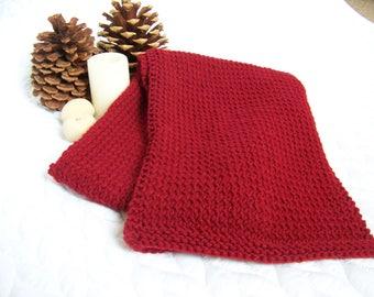 knitting pattern, red scarf pattern, wine,  scarlet, cranberry, wool scarf pattern, shawl, wrap pattern, easy knit pattern, burgundy, cherry