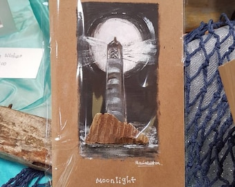 Acrylic and driftwood painted lighthouse card 'Moonlight'