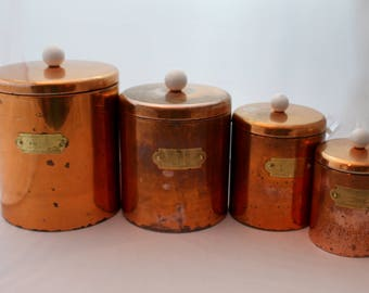 Vintage Copper Canister Set with Brass Tags and Handles for Flour, Sugar, Coffee and Tea