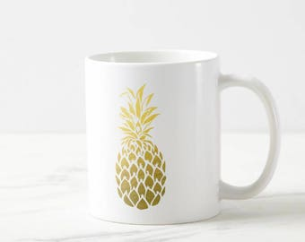 Gold Foil Pineapple Coffee Mug