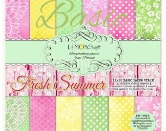NEW Lemoncraft Fresh Summer Basic 12x12 Scrapbook Paper Stack