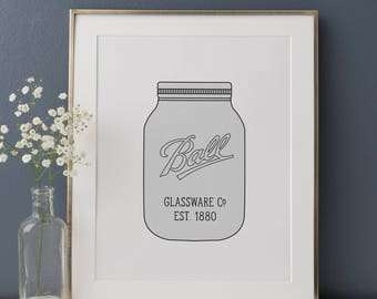 Jar Print, Rustic Kitchen, Mason Jar Print, Vintage Kitchen Decor, Farmhouse Decor, Farmhouse Kitchen