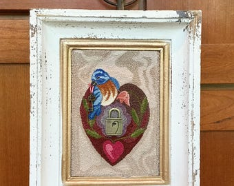Finished Needle Punch Bluebird and Heart