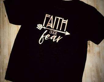Faith Over Fear Children's Shirt - Religious Shirt - Christian Shirt - Church Shirt - Christian Themed Clothing