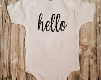 Hello Baby Bodysuit - Cursive Hello Baby Clothing - Unisex Baby Clothing - Newborn Baby Coming Home Outfit - Coming Home Outfit