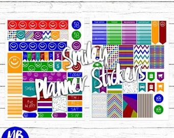 PLANNER PRINTABLES, smiley planner set, rainbow colors, printable pdf, instant download