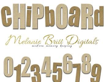 CHIPBOARD digital alphabet, light and dark textures, uppercase, lowercase, cardboard alphabet, digital scrapbooking, INSTANT DOWNLOAD