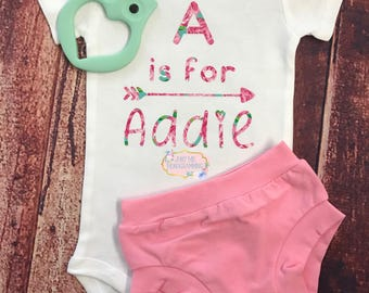 Alphabet Name Newborn Outfit with Handmade Bow Hat , Personalized Bodysuit, Baby Shower Gift, Take Home Outfit, Hello World, Baby Girl Outfi