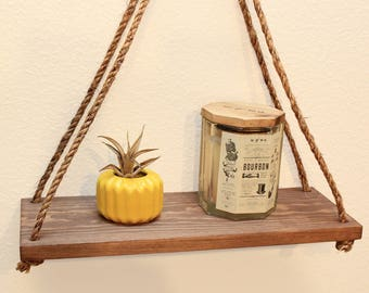 Swing Shelf - Display Shelf - Rope Shelf - Rustic Succulent Shelf - Minimalist  - Plant Shelf