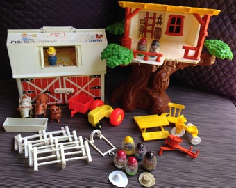 Weebles Tree House, Little People, RED Mini Bus, Ferris Wheel, People, Girl, Bo, Chair, Table