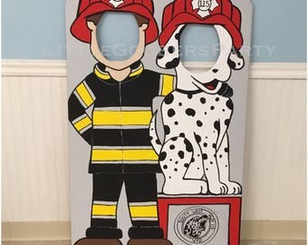 Fire Fighter Photo Prop Personalized (foam board) cutout . Fire Fighter Theme Birthday Party . 1 Hand Painted Face in Hole Standup