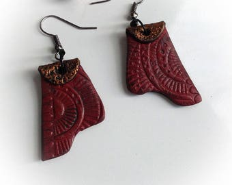 Earrings, ethnic, Burgundy Red, flat, polymer clay, patina.