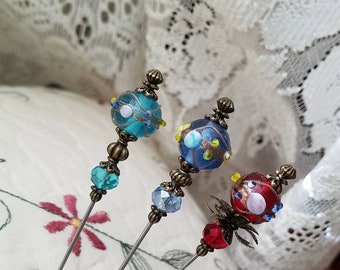 Victorian Hat Pins Set Of 3 Antique Inspired Lampwork and Crystal Beads, Filigree Brass Vintage Beads Stick Pin DISPLAY or USE! W/Clutch
