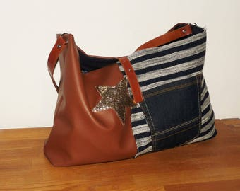 handbag shoulder camel leather and striped Navy canvas, handmade made in france chic