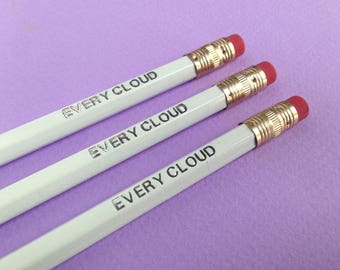 Every Cloud   Word Pencil   Inspirational Quote   White Engraved Pencil   Silver Embossed Stationery supplies   Back to School