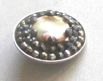 Fabulous Cut Steel Button With Pearl Center