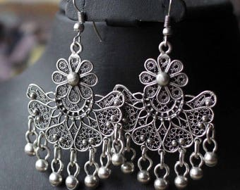 Filigree Oriental Ottoman Style Silver plated Telkari Tribal Boho Earrings