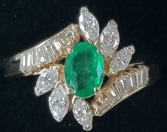 Vintage 14k Yellow Gold Emerald Diamond Ring Estate Jewelry/14k Gold Ring/Gold Emerald Diamond Ring/ Vintage 14k Gold Ring/ Yellow Gold Ring