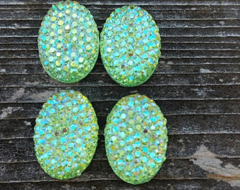 13x18mm Lime Ab Dotty Oval Resin Cabochon
