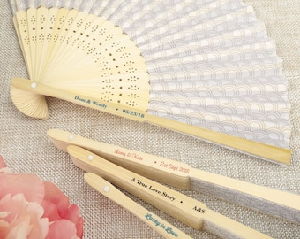 Personalized Scallop Design Wedding Fans (Pack of 10) Wedding Favors