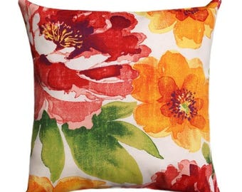 SALE Floral Outdoor Pillow, Watercolor Floral Pillow, 18x18, Colorful Throw  Pillows, Yellow