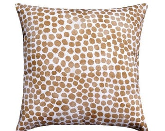 SALE Puff Dotty Raisin Glow Pillow Cover, Golden Tan Dots Accent Pillow, Spotted Throw Pillow, Polka Dot Cushion Cover, Designer Pillow Cove