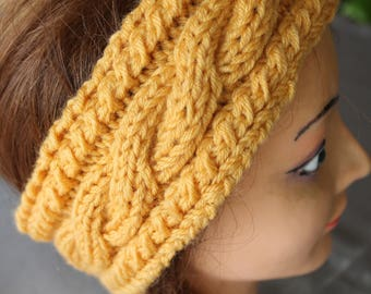 headband, circumference of head, mustard yellow, hand knitted fancy twist