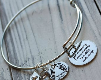 Mother to a Child with Wings Personalized Adjustable Wire Bangle Bracelet
