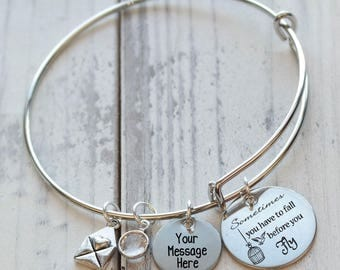 Sometimes You Have to Fall Before You Fly Personalized Adjustable Wire Bangle Bracelet