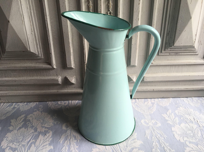 Vintage french enamel jug large turquoise blue pitcher flower vintage french enamel jug large turquoise blue pitcher flower vase duck reviewsmspy
