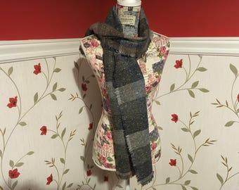 Wool Scarf Shawl - Irish Tweed - Ladies scarf - Womans - 100% wool - Soft - Brown blue green grey plaid tartan checked