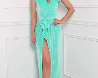 Mint Velvet Maxi Dress Wrap Neckline Sleeveless Slit