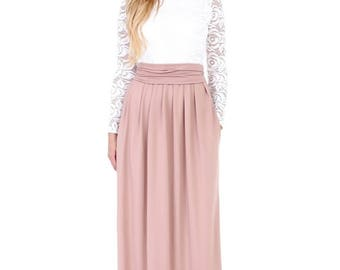 Maxi Evening Dress White Top Lace/ Cappuccino Round Neck Long Sleeves Pockets Sash