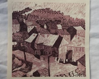 Lino Print, Dundee Landscape, 'View to the Law;Glenagnes', Limited edition on Japanese Paper, Earthy Browns, Copyright M Wilson 2017