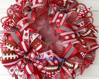 Alabama Wreath, Roll Tide Wreath, Bama Sports Wreath, Alabama Football Wreath, Bama Sports Deco Mesh Wreath, University Alabama Crimson Tide