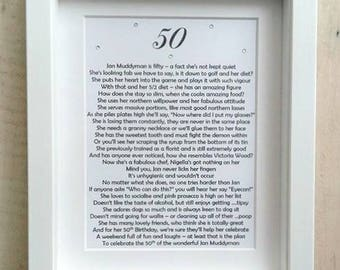 Unique gift for Milestone Birthday, Bespoke Poem for 40th Birthday, 50th Birthday Gift, 60th Birthday, 70th Gift, 80th Birthday, 90th, 100th