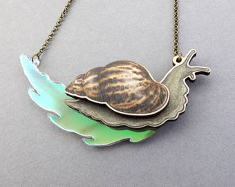 Iridescent Laser Cut Giant African Land Snail Statement Necklace - Rainbow Slime - Bug Insect Mollusc Snail Slime Jewellery Birch Please