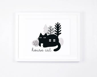 Cat Illustration Printable, Gift Idea for Cat Lovers, Black Cat, Monochrome Art Print Instant Download, House Cat, Forest Art, Minimalist