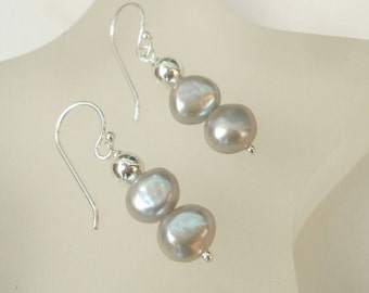 Grey Freshwater pearl earrings Sterling Silver gray pearl drop earrings, double pearl earrings Baroque pearl earrings Silver pearl jewellery