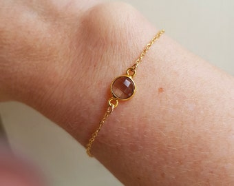 SMOKY QUARTZ bracelet tiny 18K Gold Fill bracelet small brown gemstone bracelet Healing jewellery Jewelry Chakra gift