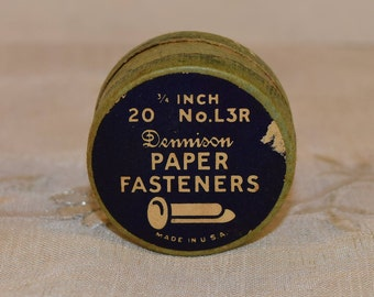 Dennison Paper Fasteners Round Box Vintage Miniature Paper Box Full of Knick Knacks Buttons Fasteners Jacks Paper Clips Coins Made in USA