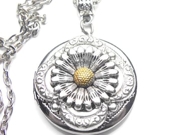 Daisy Flower Locket Two Toned Antique Silver Necklace, Handmade Jewelry, Keepsake Gift