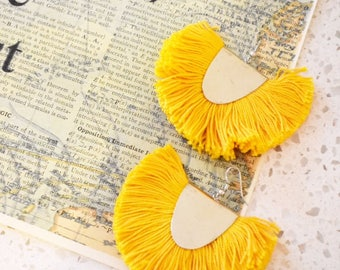 Yellow Tassel Earrings, Yellow Statement Earrings, Big Chandelier Earrings, Tassel Fan Earrings, Tassel Earrings Yellow, Cotton Tassels,