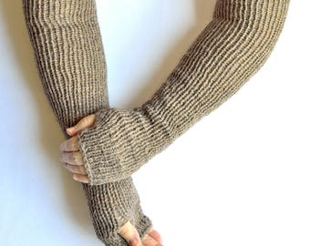 Hand knitted multicolored long arm warmers