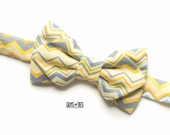 yellow bow tie, chevron bow tie, yellow and gray ties, unique bow tie, mens chevron bow tie, geometric bow tie, boys chevron bowtie, dog tie