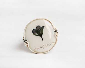 Real Flower Ring. Preserved Flower Ring. Romantic Ring. Botanical Jewelry. Nature Jewelry. Nature Ring. Adjustable Size Ring