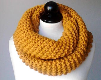 Women scarf knit scarf chunky scarf crochet scarf infinity scarf cowl scarf yellow scarves mustard scarf knit infinity scarf gift for her