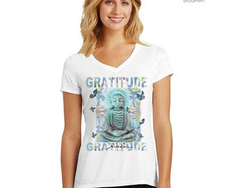 Buddha-Gratitude, Yoga tee– V-neck, tri-blend fabric, clothing, women's tshirts,  tops. tees, t-shirts
