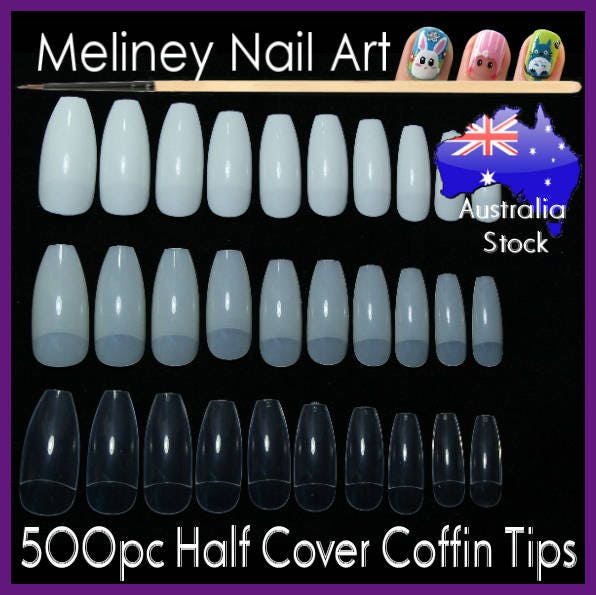 Half Well Nail Tips: 500pc Half Cover Coffin Shaped Full Well Nail Tips Ballerina