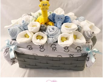 Baby Boy Gift Basket - Jungle Safari Elephant and Giraffe Basket/Co-Worker/Corporate  Baby Gift